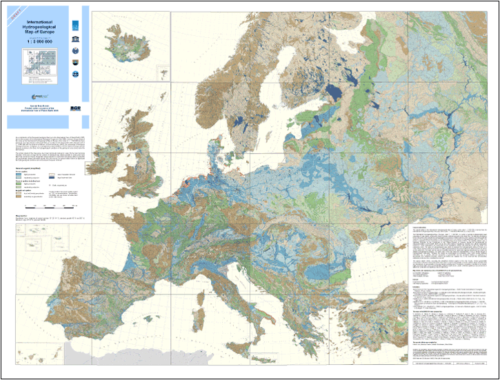 Map Of Europe With Scale.Bgr Projects Ihme1500 International Hydrogeological Map Of